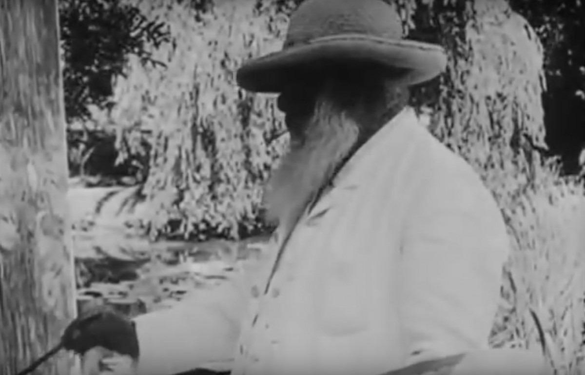Claude Monet aan het schilderen